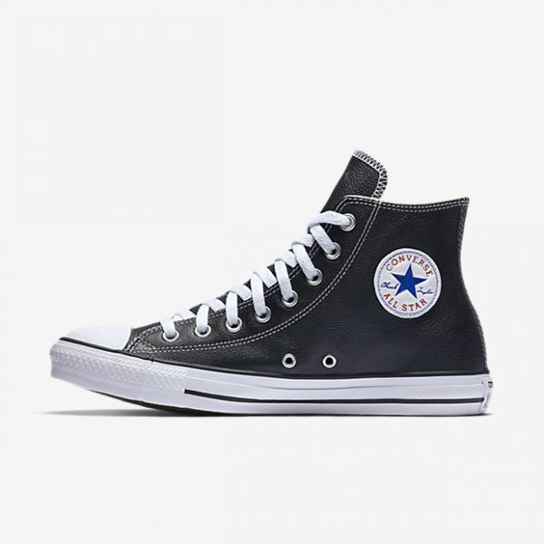 28c9df521dacb CONVERSE CHUCK TAYLOR ALL STAR HI BLACK LEATHER UNISEX